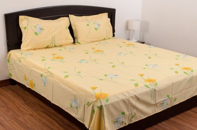 Blue Mist Cotton Abstract Double Bedsheet
