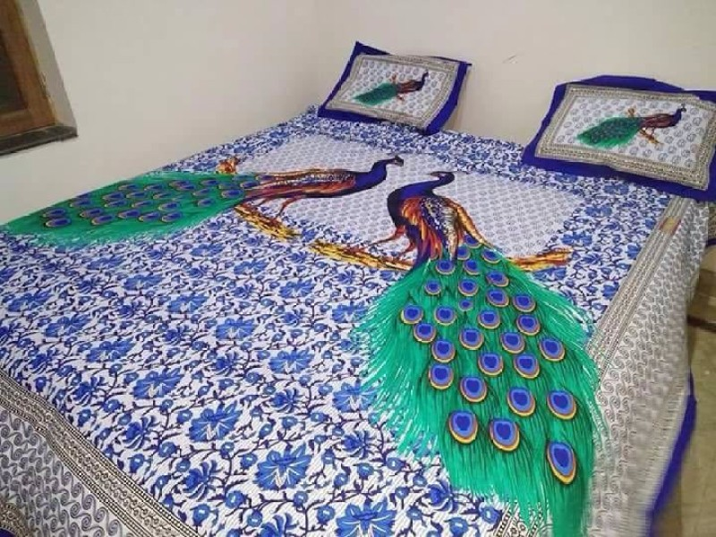 Rajwada Fabrics Cotton Printed King sized Double Bedsheet(1 Jaipuri Print...