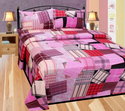Balaji Texo Fab Cotton Checkered Double Bedsheet