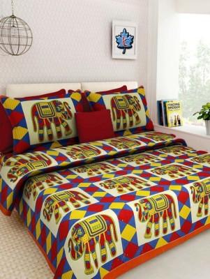 Aditfab Cotton Printed King sized Double Bedsheet