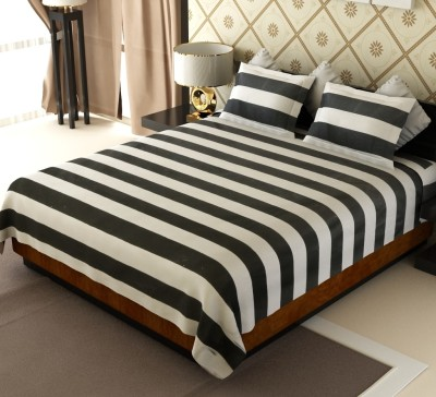 Home Candy Cotton Striped Double Bedsheet