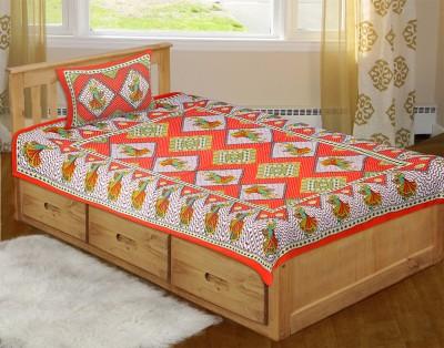 Jaipur Fabric Cotton Checkered Single Bedsheet
