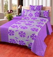 Singhs Villas Decor Cotton Floral Double Bedsheet(1 Bedsheet, 2 Pillow Covers, Purple)