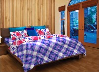 Home Expressions USA Cotton Checkered Single Bedsheet(1 Pillow Cover, 1 Bedsheet, White, Blue, Purple)
