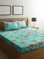 Welhome by Welspun Cotton Printed Double Bedsheet(1 Double Bed sheet with 2 Pillow Covers, Turquoise Blue) best price on Flipkart @ Rs. 599