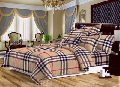 Dream Weaverz Cotton Checkered Double Bedsheet