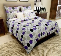 Home Candy Cotton Polka Double Bedsheet(1 Bedsheet, 2 Pillow Covers, White)
