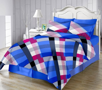 LISSOME Satin Checkered King sized Double Bedsheet