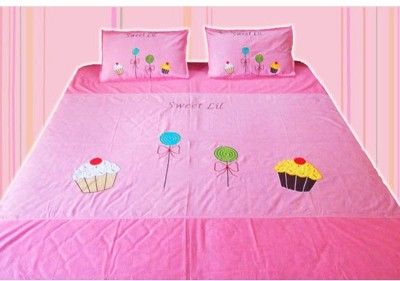 Blooming Buds Cotton Embroidered Double Bedsheet