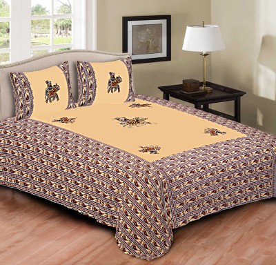 Tripods Fashion Cotton Embroidered King sized Double Bedsheet