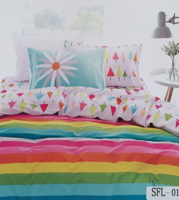 I-Dream Decor Cotton Striped King sized Double Bedsheet