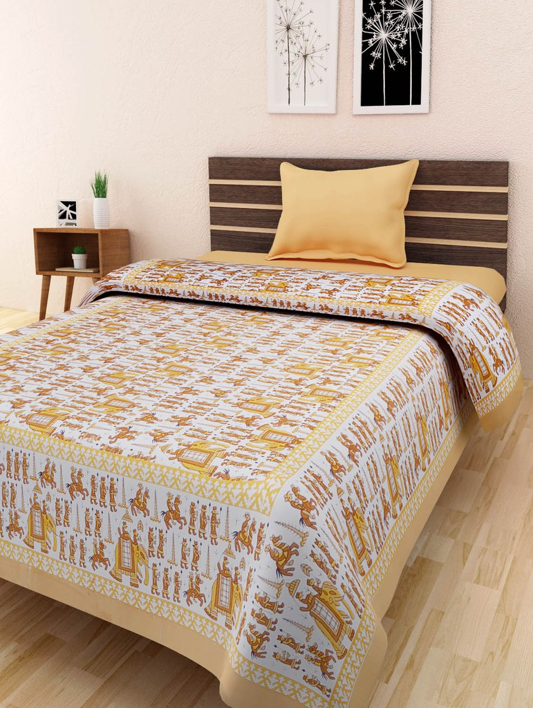 MayoriCotton Cotton Printed Single Bedsheet(1 Bedsheet Without Pillow Cover, Multicolor)