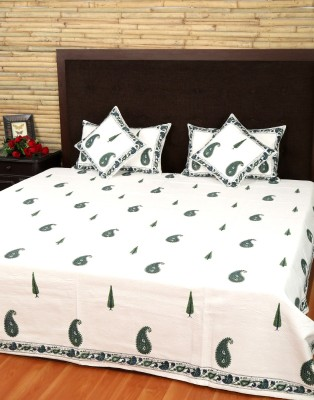 Rajrang Cotton Paisley Double Bedsheet 1 Bed sheet, 2 Pillow Cover, 2 Cushion Cover, White  available at Flipkart for Rs.5262