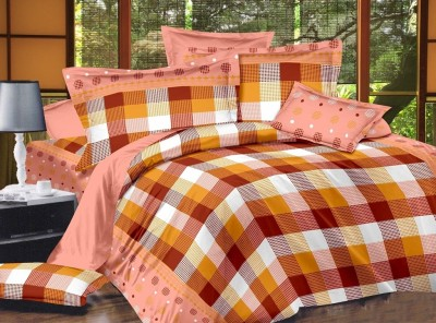 Zigma Collections Cotton Checkered King sized Double Bedsheet