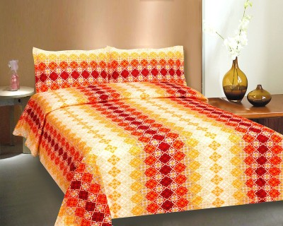 Ctm Textile Mills Satin Abstract King sized Double Bedsheet