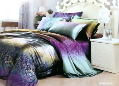 Night Gold Cotton Abstract Double Bedsheet