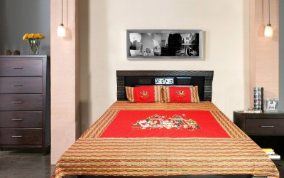 Wow-But-How Cotton Embroidered Double Bedsheet