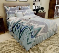 Home Candy Cotton Abstract Double Bedsheet(1 Bed Sheet, 2 Pillow Covers, Multicolor)