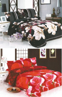 Sampoorna Collection Polyester, Cotton Floral Double Bedsheet