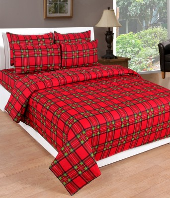 Countingbeds Cotton Checkered Queen sized Double Bedsheet