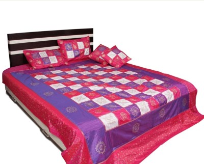 Soundarya Polyester Silk Blend Abstract Queen sized Double Bedsheet