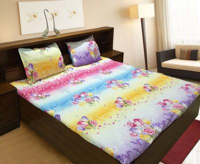 Vibhavari Cotton Floral King sized Double Bedsheet