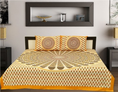 bagru Cotton Text Print King sized Double Bedsheet