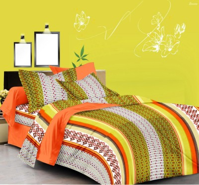 Double A Creation Cotton Striped King sized Double Bedsheet