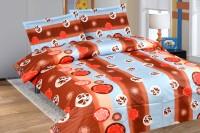 Calicomillsindia Cotton Floral Double Bedsheet(1 Bedsheet, 2 Pillow Covers, Brown, Blue)