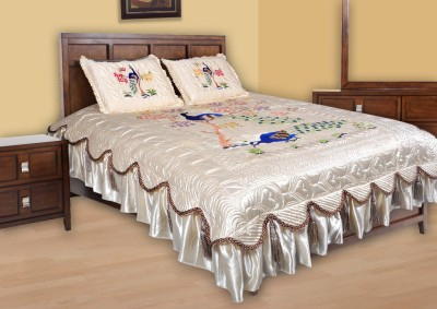 Chelsi Satin Embroidered Double Bedsheet