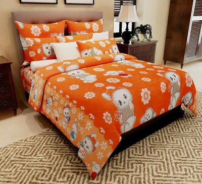 Home Candy Cotton Floral Double Bedsheet(1 Double Bedsheet, 2 Pillow Covers, Orange)