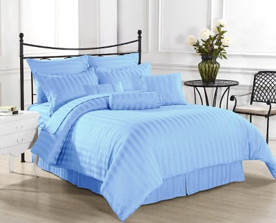 Ahmedabad Cotton Cotton, Satin Striped King sized Double Bedsheet