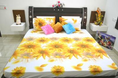 Manya Shop Polyester Floral Double Bedsheet