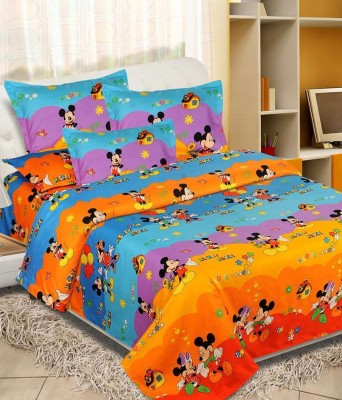 Saksham Polyester Silk Blend Printed Double Bedsheet