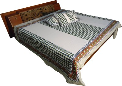 Jaipur Art and Craft Cotton Checkered Double Bedsheet