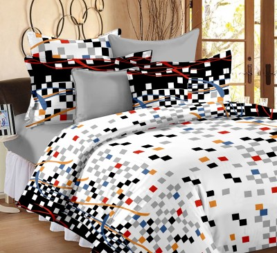 Ahmedabad Cotton Cotton Checkered Double Bedsheet