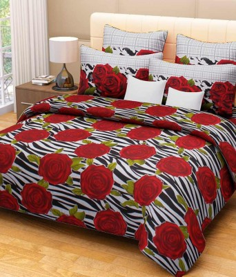 Décor mania Cotton Floral Double Bedsheet