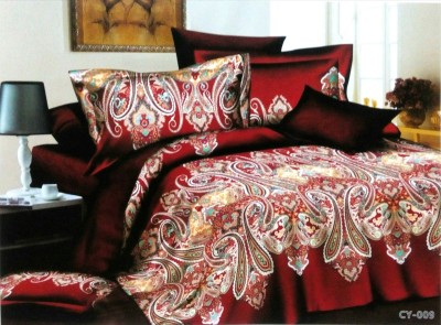 Night Gold Polyester Abstract Double Bedsheet