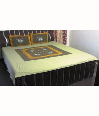 Pallavi Furnishings Cotton Linen Blend Embroidered King sized Double Bedsheet
