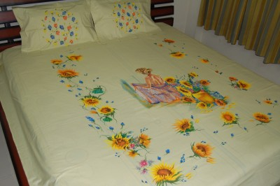 Bizibee Cotton Plain King sized Double Bedsheet