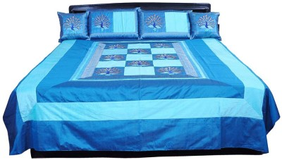 Shilpbazaar Silk Double Bed Cover(Blue, 1 Double Bedcover, 2 Cushion Covers, 2 Pillow Covers)