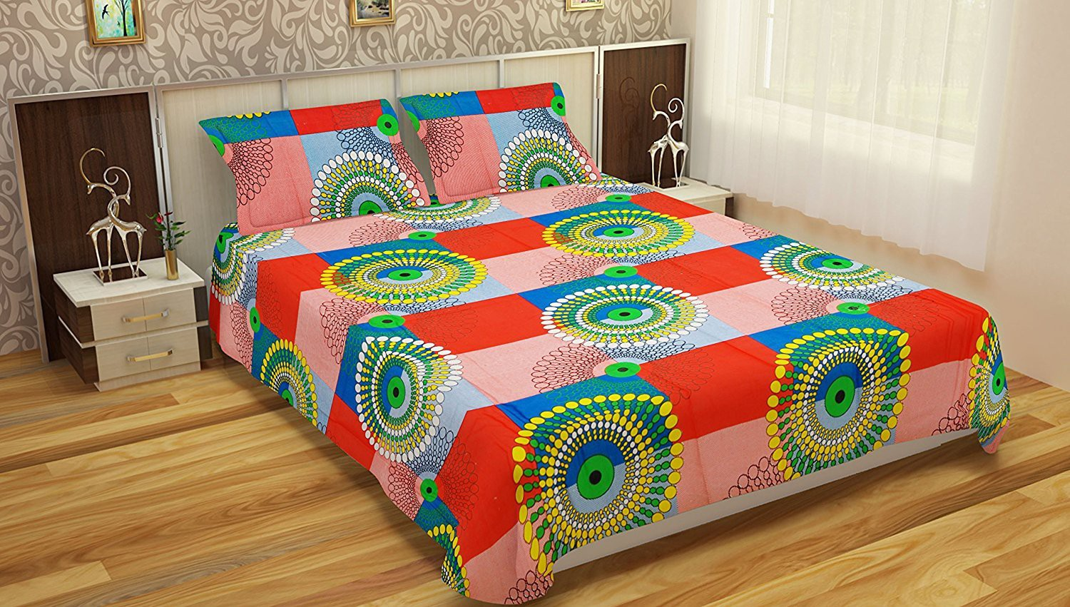 Comforthome Cotton Printed Double Bedsheet(1 pc double bedsheet and 2 pc pillow cover, Multicolor)