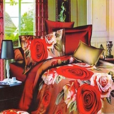 Shree Creations Polycotton Floral King sized Double Bedsheet