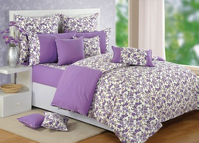 Swayam Floral Double Quilts & Comforters Purple