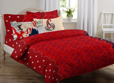 OSTATA Satin Floral Double Bedsheet