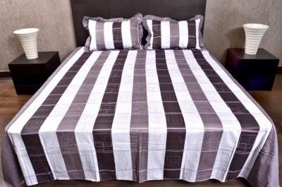 Banana Prints Cotton Striped Double Bedsheet