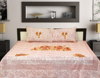 Touch Feel Cotton Embroidered King sized Double Bedsheet