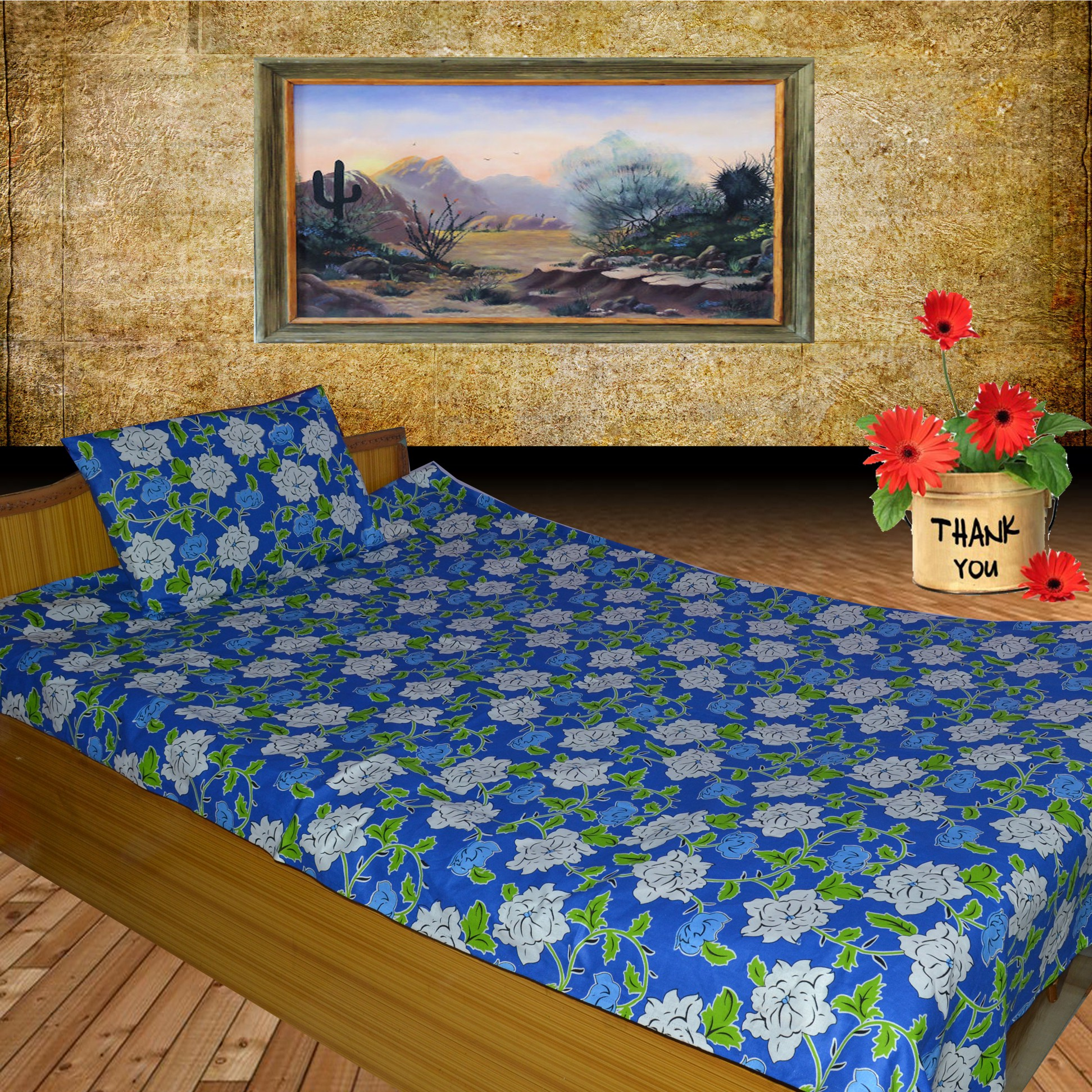 Fabbig Cotton Floral Single Bedsheet