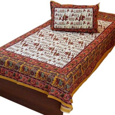 Bagru Crafts Cotton Floral Single Bedsheet
