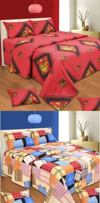RedHot Cotton Abstract Double Bedsheet